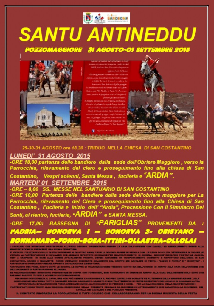 Programma de Santu Antineddu 31 agosto 1 settembre 2015