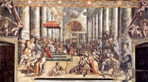 Donazione di Roma. Raffaello. Sala di Costantino. Musei Vaticani