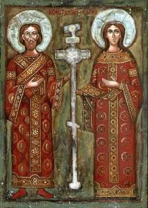 Icona ortodossa con SantElena e suo figlio Costantino il Grande e la vera croce